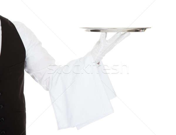 Garson boş gümüş tepsi beyaz Stok fotoğraf © AndreyPopov
