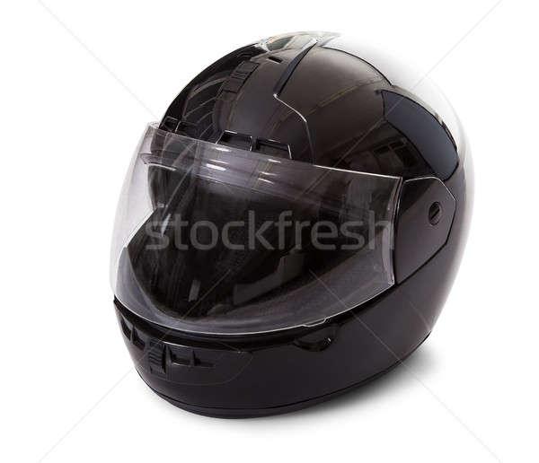 Zwarte motorfiets helm studio afbeelding gesloten Stockfoto © AndreyPopov