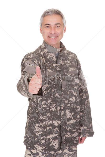 Dojrzały żołnierz kciuk w górę podpisania Zdjęcia stock © AndreyPopov