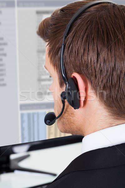 Call Center Berater tragen Headset Büro Stock foto © AndreyPopov
