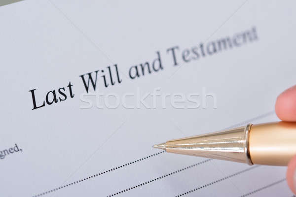 Hand Signing Last Will And Testament Document Stock photo © AndreyPopov