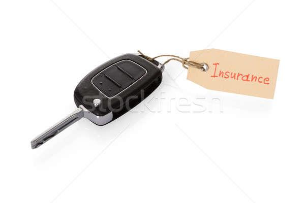 Sleutel bevestigd verzekering tag witte Stockfoto © AndreyPopov