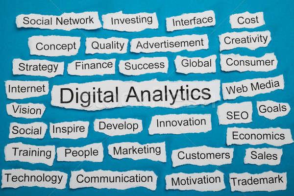 Word Digital Analytics On Piece Of Torn Paper Stock photo © AndreyPopov