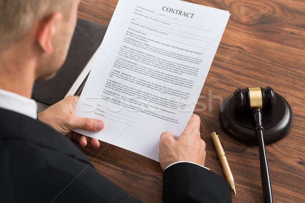 Judge Reading Contract Paper Stock photo © AndreyPopov