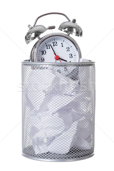 Alarm Clock On Papers In Dustbin Stock photo © AndreyPopov