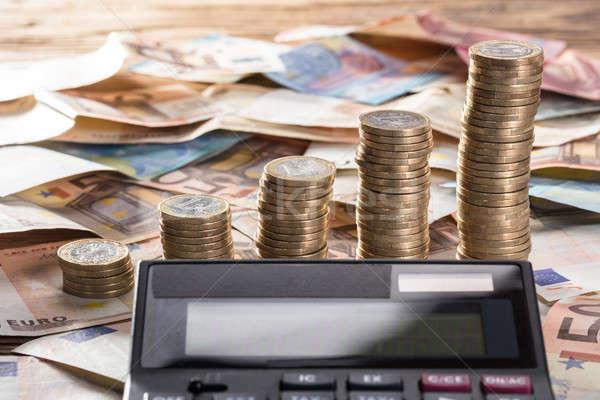 Kalkulator monety waluta zauważa Zdjęcia stock © AndreyPopov