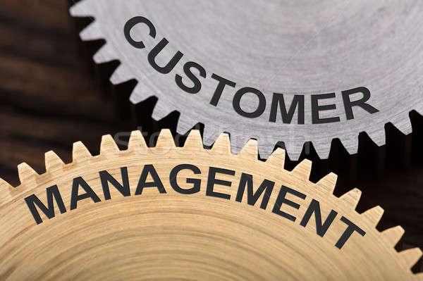 Customer Management Concept On Interlocked Cogwheels Stock photo © AndreyPopov