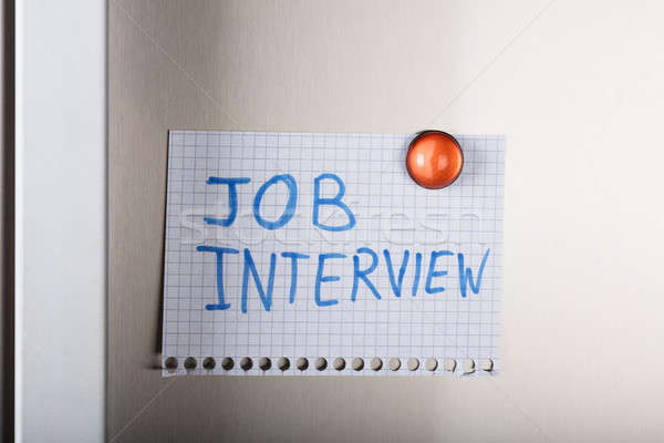Job Interview Note Attached With Orange Magnetic Thumbtack Stock photo © AndreyPopov