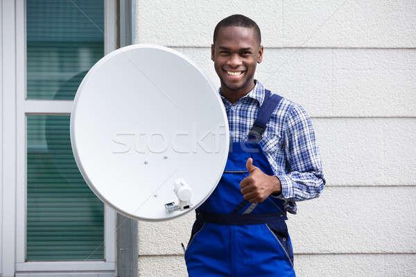 Mutlu erkek teknisyen tv portre Stok fotoğraf © AndreyPopov