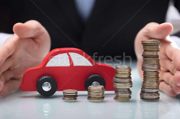 Stockfoto: Zakenman · auto · munten · hand