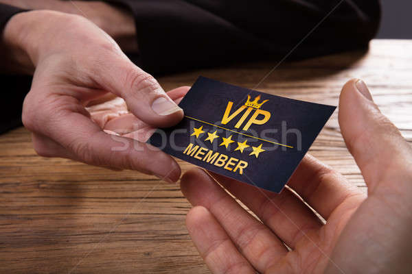 Personne vip carte main bois Photo stock © AndreyPopov