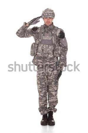 Portrait Of Soldier With Rifle Stock photo © AndreyPopov