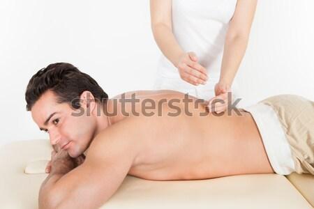 Férfi hát masszázs jóképű fiatalember gyomor Stock fotó © AndreyPopov