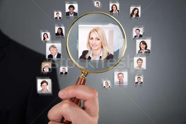 Empresário candidato lupa imagem cinza Foto stock © AndreyPopov