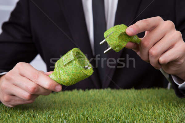 Man Holding Grass Covered Cable Stock photo © AndreyPopov