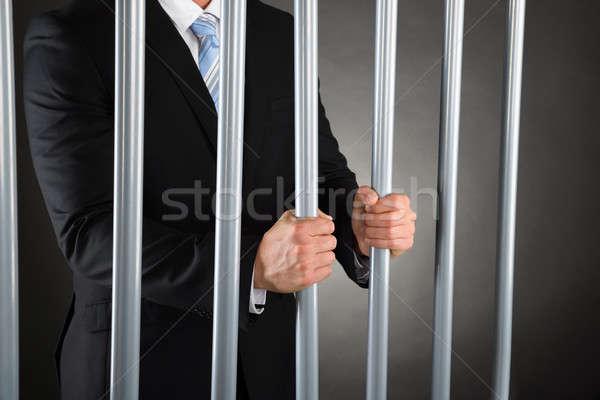 üzletember börtön közelkép tart fém rácsok Stock fotó © AndreyPopov