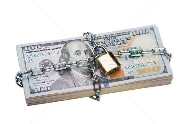 Metallic Chain And Padlock Around Dollar Bundle Stock photo © AndreyPopov