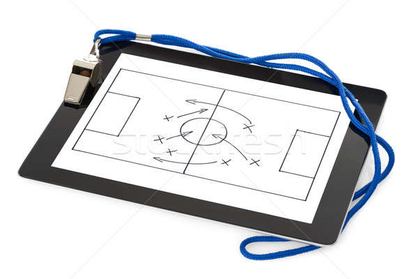 Whistle And Soccer Tactic Diagram On Digital Tablet Stock photo © AndreyPopov
