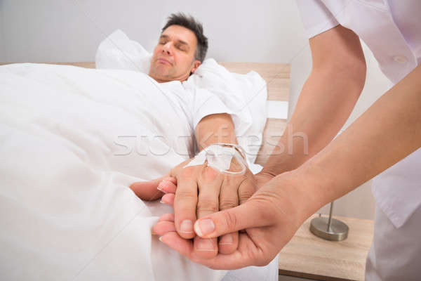 Stock photo: Iv Drip In Patient's Hand