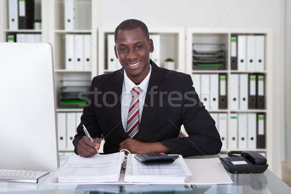 Smiling Male Accountant Writing On Documents Stock photo © AndreyPopov