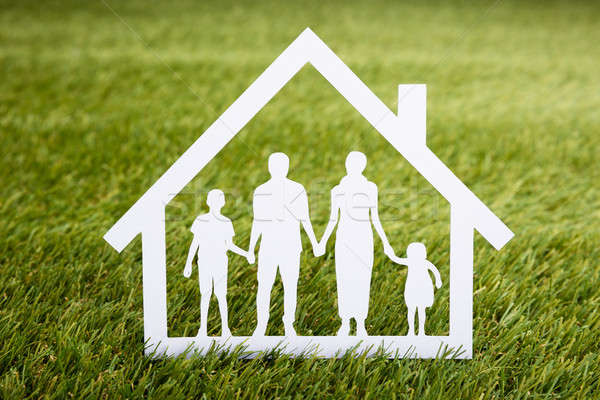 Papercut Of Family House On Grass Stock photo © AndreyPopov