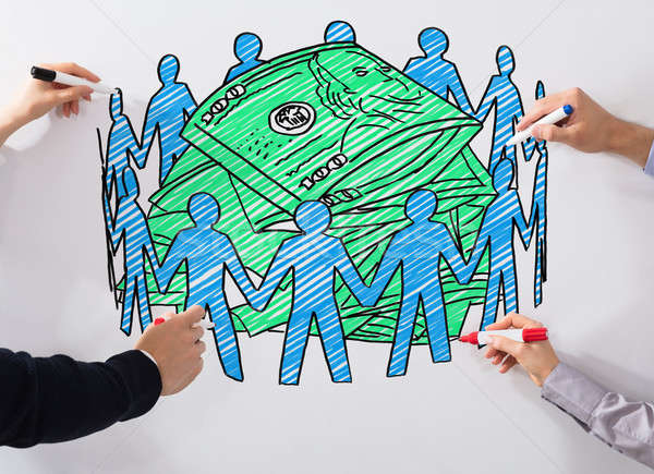 Business People Drawing Crowd Funding Chart Stock photo © AndreyPopov