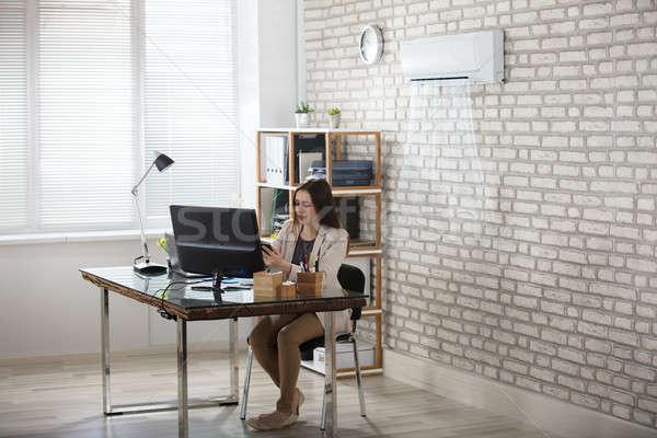 Kobieta interesu pracy biuro klimatyzacja szczęśliwy młodych Zdjęcia stock © AndreyPopov
