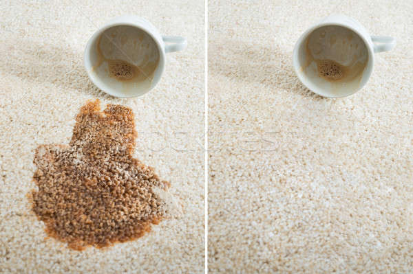Collage Of Two Images Showing Coffee Spilling From Cup Stock photo © AndreyPopov