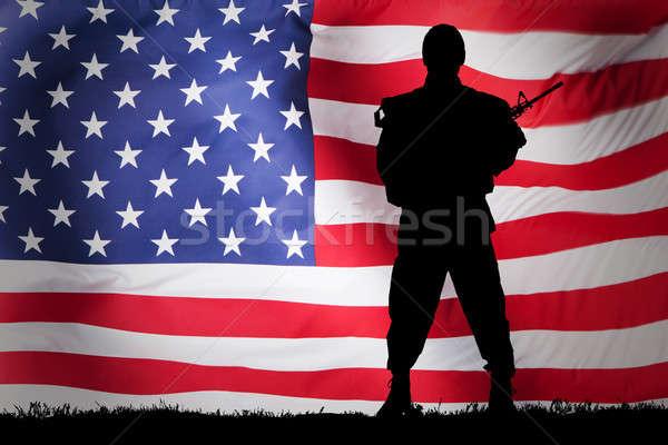 Stok fotoğraf: Asker · bayrak · siluet · arka · plan · güvenlik · özgürlük