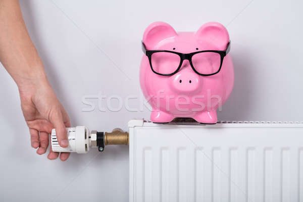 Man's Hand Adjusting Thermostat With Piggy Bank Stock photo © AndreyPopov