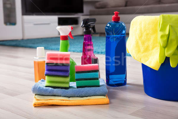 Maison produits de nettoyage bleu seau Photo stock © AndreyPopov