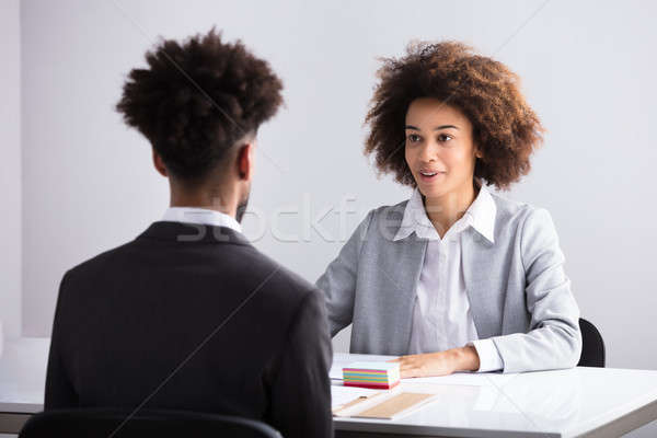 Businesswoman Interviewing Male Applicant Stock photo © AndreyPopov