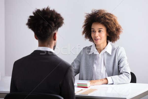 Zakenvrouw mannelijke aanvrager jonge werkplek business Stockfoto © AndreyPopov