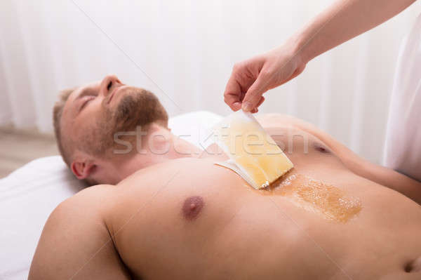 Férfi gyantázás mellkas fürdő viasz test Stock fotó © AndreyPopov