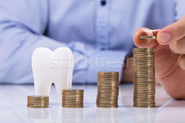 Monet zdrowych zębów człowiek monety Zdjęcia stock © AndreyPopov