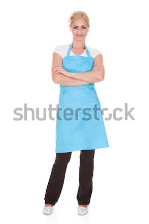 Retrato mulher cozinha avental feliz Foto stock © AndreyPopov