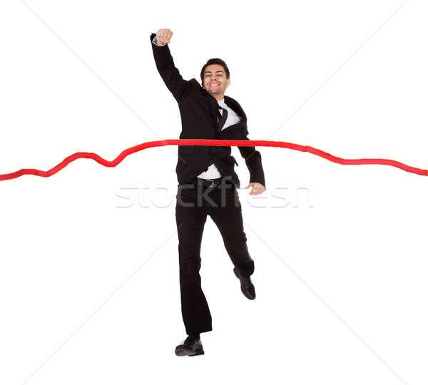 Biznesmen uruchomiony line odizolowany biały Zdjęcia stock © AndreyPopov