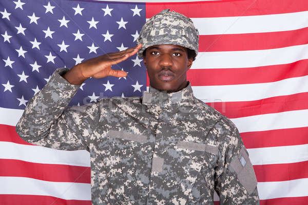 Army Soldier Saluting In Front Of American Flag Stock photo © AndreyPopov