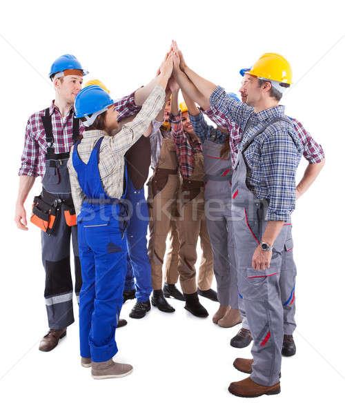 Grupy high five różnorodny gest stoją Zdjęcia stock © AndreyPopov