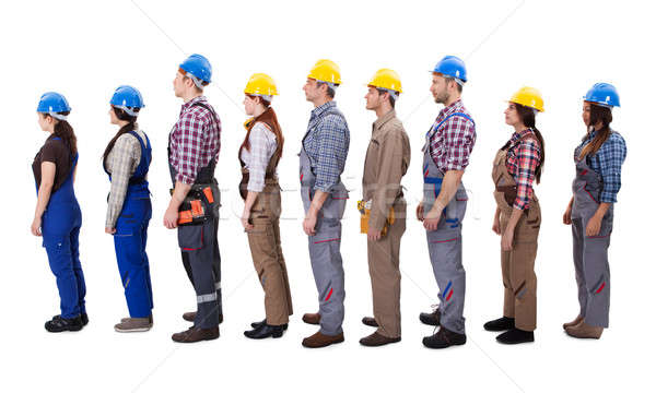 Construction workers standing in queue Stock photo © AndreyPopov