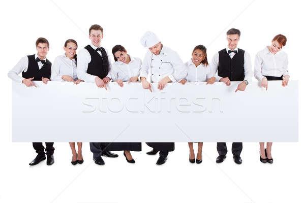 Grup catering personel afiş büyük bir grup Stok fotoğraf © AndreyPopov