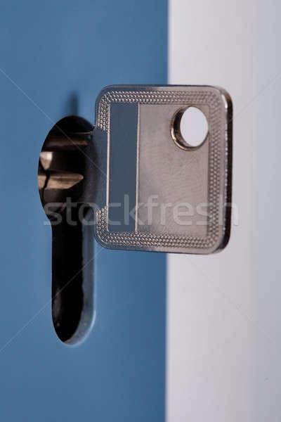 Argent clé serrure porte maison Photo stock © AndreyPopov