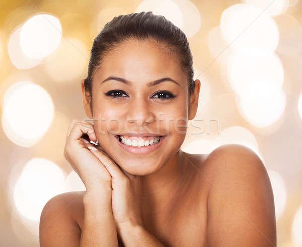 Retrato feliz top-less mujer primer plano Foto stock © AndreyPopov