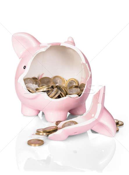 Broken Piggy Bank With Money Stock photo © AndreyPopov