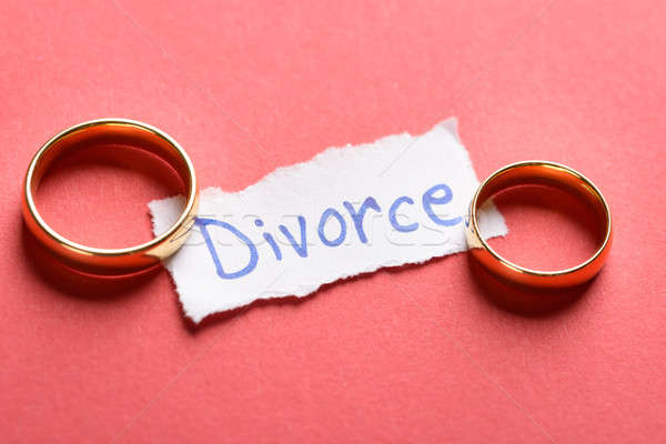 Rings On Piece Of Paper With Divorce Text Stock photo © AndreyPopov
