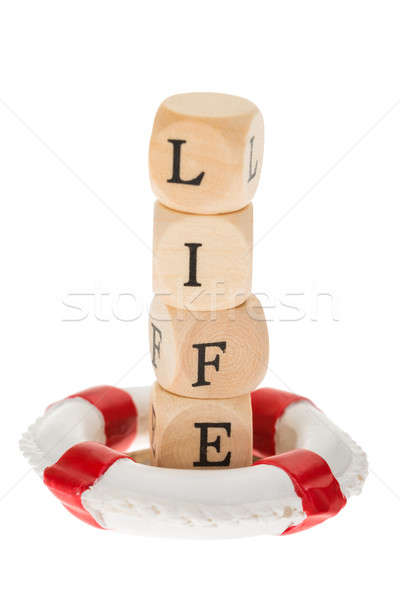 Life Belt And Wooden Piece With Text Life Stock photo © AndreyPopov
