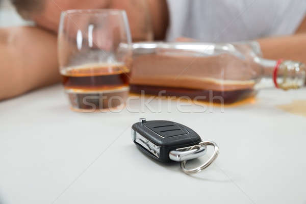 Man With Glass Of Liquor And Car Key Stock photo © AndreyPopov