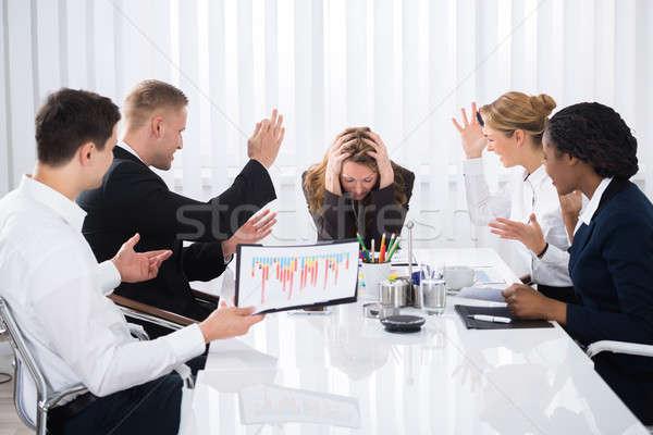 Alterar mujer de negocios reunión sesión agresivo colega Foto stock © AndreyPopov