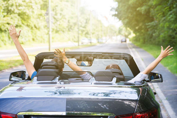 Couple Sitting In A Car Raising Their Arms Stock photo © AndreyPopov