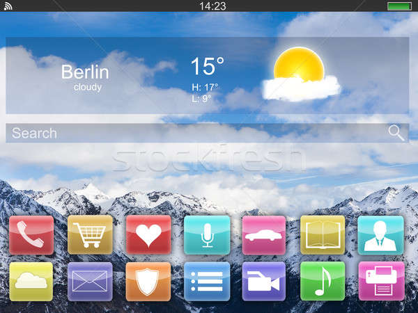 Close-up Of Digital Tablet Showing Home Screen Stock photo © AndreyPopov